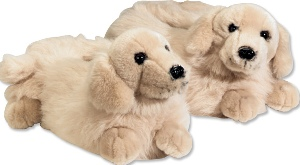 Golden retriever plush animal slippers for toddlers