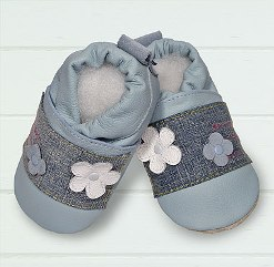 Baby blue/denim patch soft soled leather baby shoes