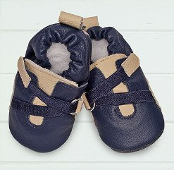 Navy/cream wrap soft soled leather baby shoes