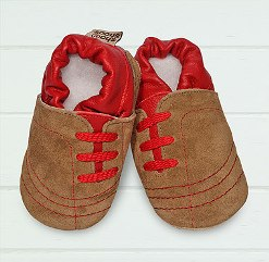 Sand/red side lace soft soled leather baby shoes