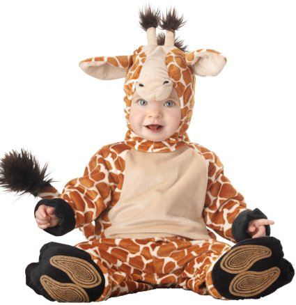 The Giraffe Baby Costume is designed to maximize children's comfort especially, so that your child can freely move about as he plays in his crib, stumbles about on the living room floor or simply aims for the treetops, as any giraffe would!