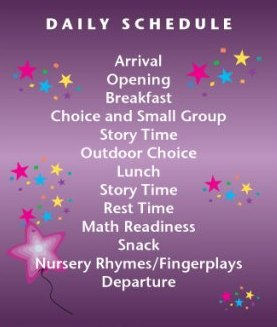 Preschool Daily Schedule