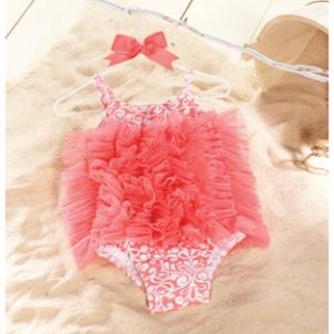 Coral damask swimsuit