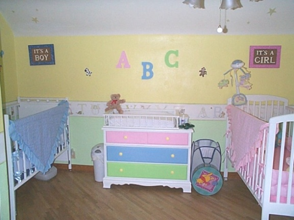 Colors and themes to match in baby twins decorating